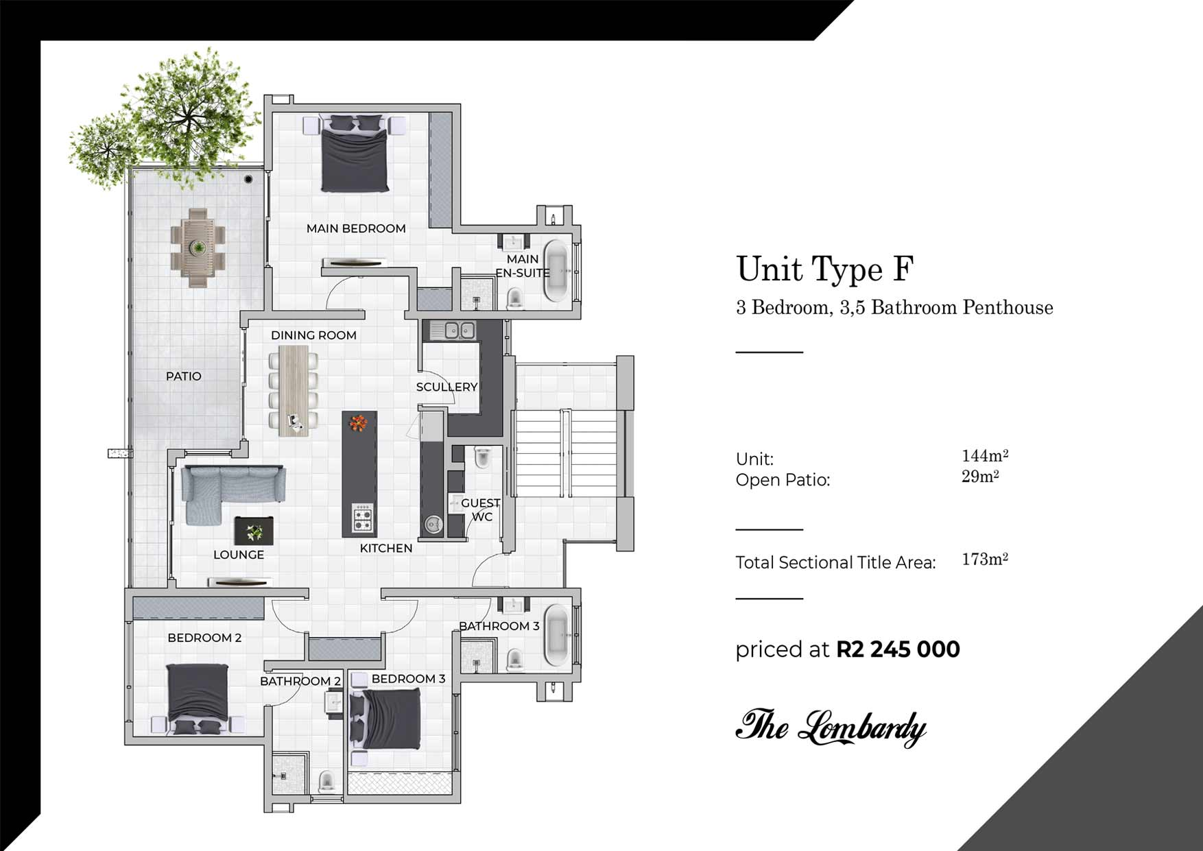 Type F floor plan - Lombardy Luxury